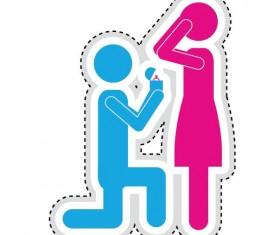 Couple romantic icons set 05