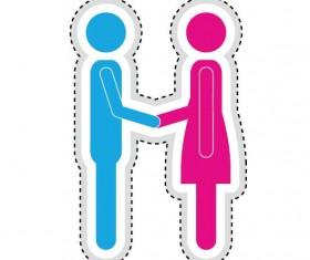 Couple romantic icons set 08