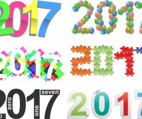 Creative 2017 text design vector material