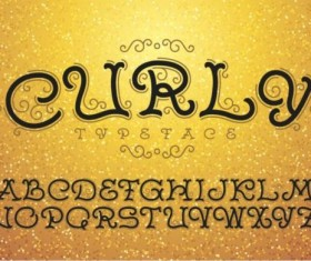 Curly alphabet vector material