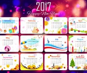 Cute 2017 calendar with new year background vector