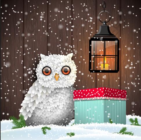 Cute owl with winter christmas background vector - Vector ...