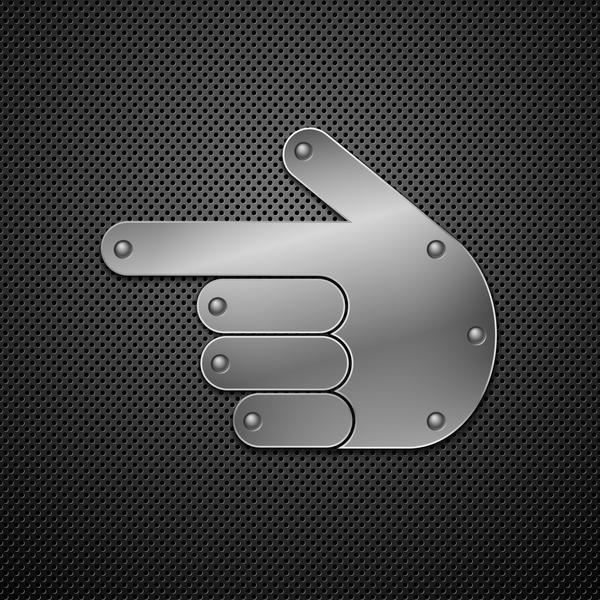 Dark carbon background with gesture metal vector