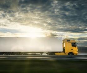 Dark clouds Mercedes-Benz delivery trucks HD picture