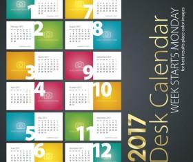 Desk calendar 2017 colored vector