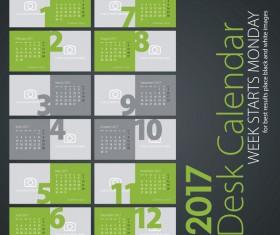 Desk calendar 2017 light green colored vectors