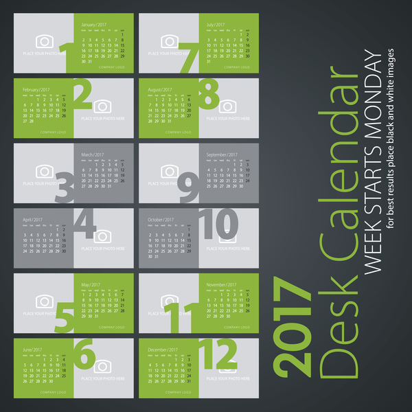 Desk calendar 2017 light green colored vectors