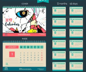 Desk calendar 2017 vector retro template 11