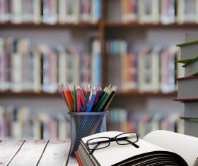 Desk pencil case with bookcase Stock Photo 01