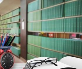 Desk pencil case with bookcase Stock Photo 02