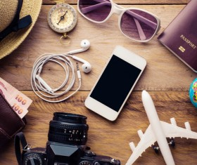 Desktop travel essential items HD picture