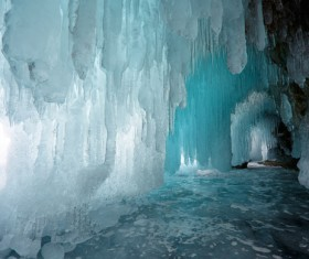 Different colors of the ice cave Stock Photo