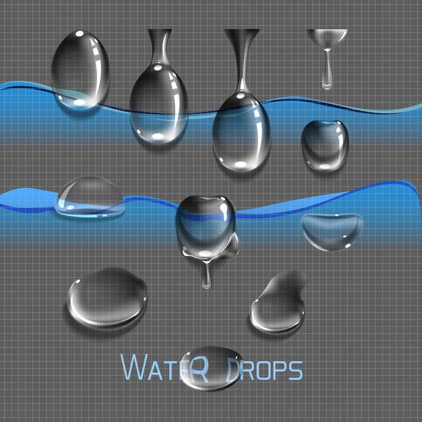 Vector set water drops, transparent