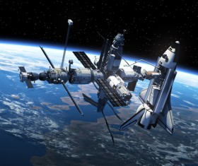 Docked at the space station of the space shuttle HD picture