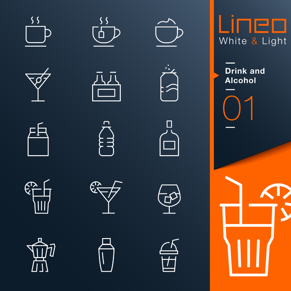 Drink and alcohol lines icons 01