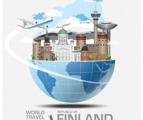 Finland travel vector template
