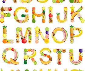 Fruits alphabets vectors set