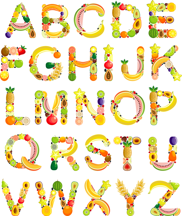 Fruits alphabets vectors set
