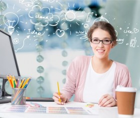 Full of ideas Young female graphic designer Stock Photo