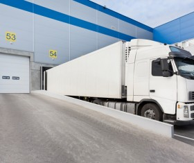 Garage white delivery truck HD picture