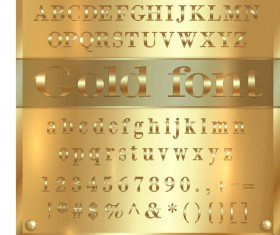 Glod font with symbol vector