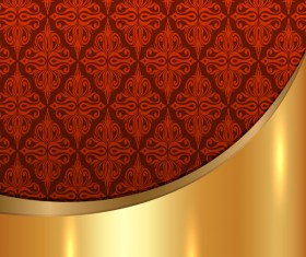 Golded metal background with decor patterns vectors material 20
