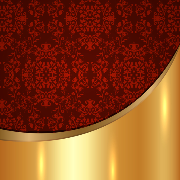 Golded Metal Background With Decor Patterns Vectors Material 22