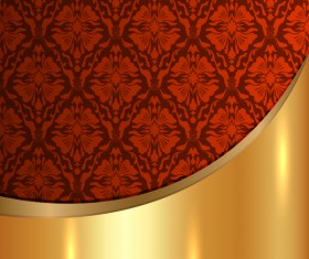 Golded metal background with decor patterns vectors material 24