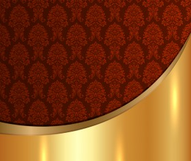 Golded metal background with decor patterns vectors material 26