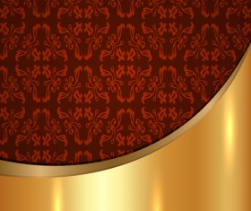 Golded metal background with decor patterns vectors material 27