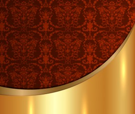 Golded metal background with decor patterns vectors material 28