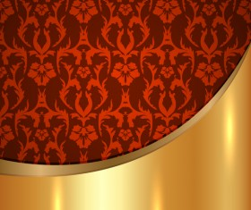 Golded metal background with decor patterns vectors material 29