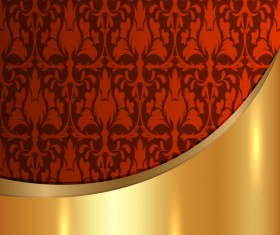 Golded metal background with decor patterns vectors material 30
