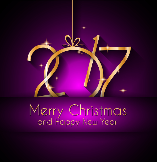 golden new year 2017 with purple background vector