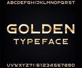 Golden typeface alphabet with numbers vector
