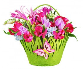 Green flower basket with colorful flowers Stock Photo