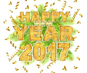 Green leaves with 2017 new year golden text vector background