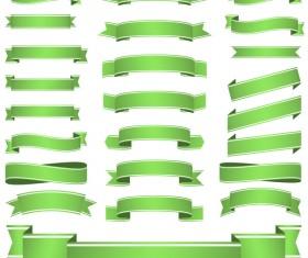 Green ribbon banners vectors 03