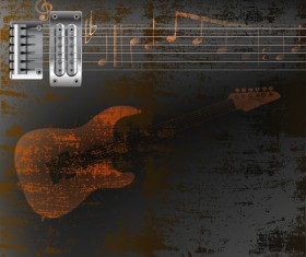 Guitar strings on a rusty metal background and notes vector