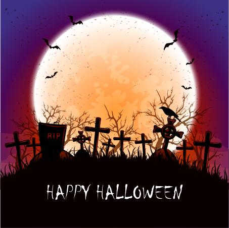 Halloween Moon at the cemetery vector - Vector Halloween free download