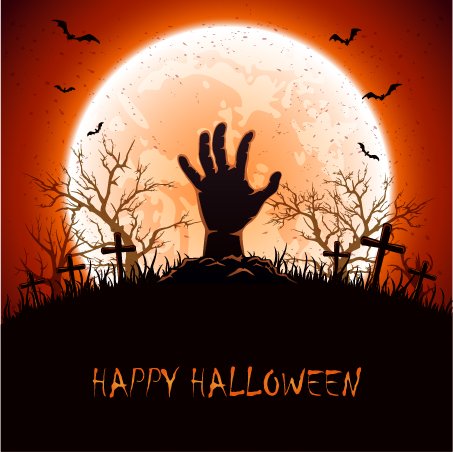 Halloween background with hand on cemetery vector