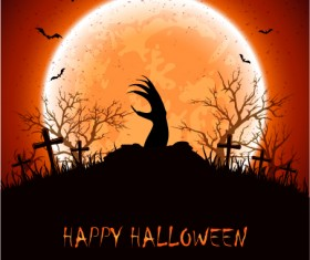 Halloween background with hand vector