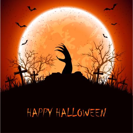 Halloween background with hand vector Vector Background Vector