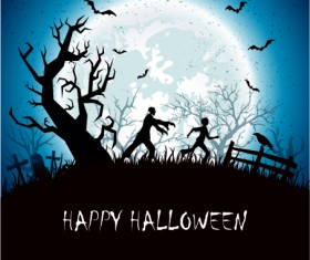 Halloween background with night vector material