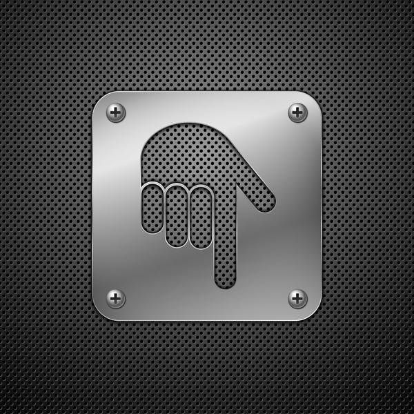 Hand download metal sign vector