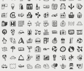 Hand drawn travel icons set 01