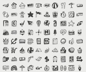 Hand drawn travel icons set 02