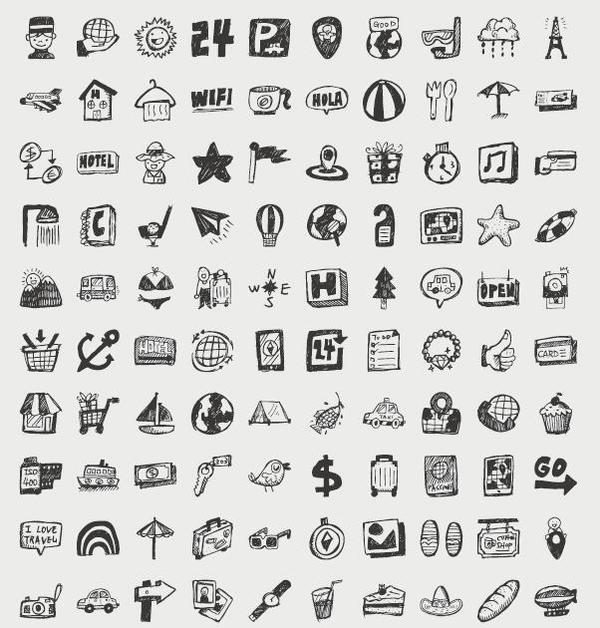 Hand drawn travel icons set 02