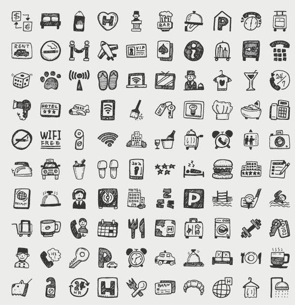 Hand drawn travel icons set 03