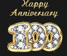 Happy 100 anniversary gold with diamonds background vector
